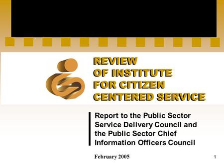 1 Report to the Public Sector Service Delivery Council and the Public Sector Chief Information Officers Council February 2005 REVIEW OF INSTITUTE FOR CITIZEN.