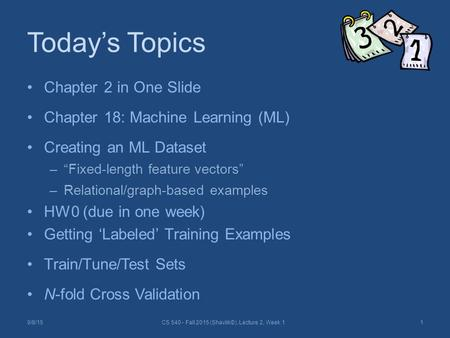 "Today's Topics Chapter 2 in One Slide Chapter 18: Machine Learning (ML) Creating an ML Dataset –""Fixed-length feature vectors"" –Relational/graph-based."