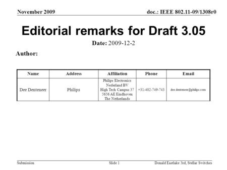 Doc.: IEEE 802.11-09/1308r0 Submission November 2009 Donald Eastlake 3rd, Stellar SwitchesSlide 1 Editorial remarks for Draft 3.05 Date: 2009-12-2 Author: