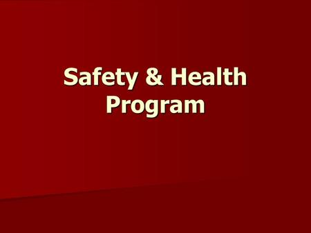 Safety & Health Program. What Kind of Safety Programs Do You Use? Employee Meetings Employee Meetings Crew Leader Accountability Crew Leader Accountability.