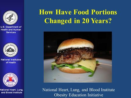 How Have Food Portions Changed in 20 Years? National Heart, Lung, and Blood Institute Obesity Education Initiative.