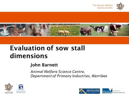 The Animal Welfare Science Centre Evaluation of sow stall dimensions John Barnett Animal Welfare Science Centre, Department of Primary Industries, Werribee.