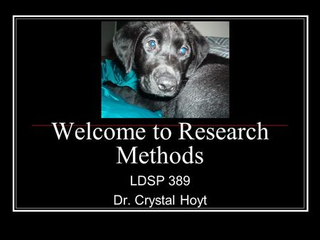 Welcome to Research Methods LDSP 389 Dr. Crystal Hoyt.