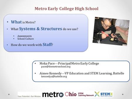 What is Metro? What Systems & Structures do we use? Assessments School Culture How do we work with Staff ? What is Metro? What Systems & Structures do.