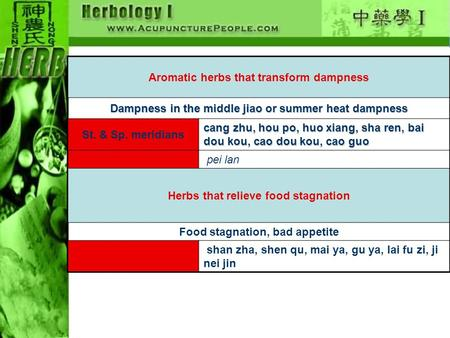 Aromatic herbs that transform dampness Dampness in the middle jiao or summer heat dampness St. & Sp. meridians cang zhu, hou po, huo xiang, sha ren, bai.