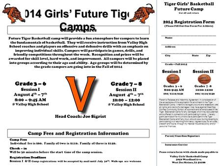 2014 Girls' Future Tiger Camps Grade 3 – 6 Session I August 4 th – 7 th 8:00 – 9:45 Valley High School Grade 7 – 8 Session II August 4 th – 7 th 10:00.