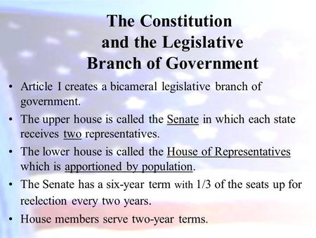 the constitution and the legislative branch of government essay Us federal government essays examine the three branches of government as outlined by the constitution: the executive, the legislative and the judiciary.
