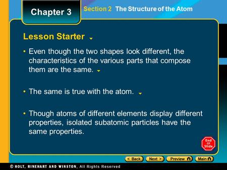 Section 2 The Structure of the Atom Lesson Starter Even though the two shapes look different, the characteristics of the various parts that compose them.