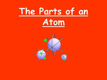 The Parts of an Atom.