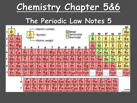 Chemistry Chapter 5&6 The Periodic Law Notes 5.