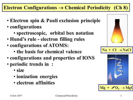 6 Oct 1997Chemical Periodicity1 Electron Configurations  Chemical Periodicity (Ch 8) Electron spin & Pauli exclusion principle configurations spectroscopic,