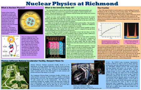 Nuclear Physics at Richmond The Frontier One of the major frontiers in nuclear physics is understanding why quarks and gluons act the way they do to create.