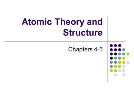 Atomic Theory and Structure Chapters 4-5 Atomic Theories Democritus ~ 400 BC believed that atoms were indivisible and indestructible Dalton ~ 1800's.