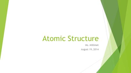 Atomic Structure Ms. Millimet August 19, 2014. Entrance Procedure – Reminder!  Walk in classroom silently  Pick up papers that you need from side table.