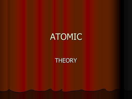 ATOMIC THEORY Defining the Atom An atom is the smallest particle of an element that retains its identity in a reaction. An atom is the smallest particle.