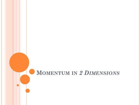 M OMENTUM IN 2 D IMENSIONS. 4.1 N EWTON ' S SECOND LAW AND MOMENTUM Newton's second law states that the acceleration produced by a force on an object.