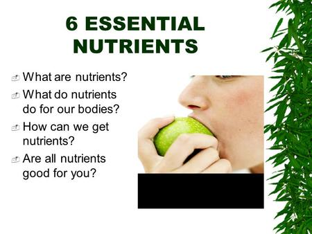 6 ESSENTIAL NUTRIENTS  What are nutrients?  What do nutrients do for our bodies?  How can we get nutrients?  Are all nutrients good for you?