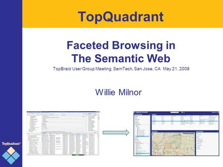 TopQuadrant Faceted Browsing in The Semantic Web TopBraid User Group Meeting, SemTech, San Jose, CA May 21, 2008 Willie Milnor.