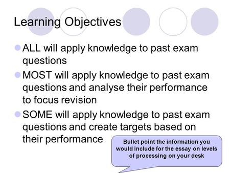 Learning Objectives ALL will apply knowledge to past exam questions MOST will apply knowledge to past exam questions and analyse their performance to focus.