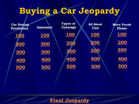 Buying a Car Jeopardy Final Jeopardy Car Buying Vocabulary 100 200 300 400 500 Insurance 100 200 300 400 500 Types of Coverage 100 200 300 400 500 All.