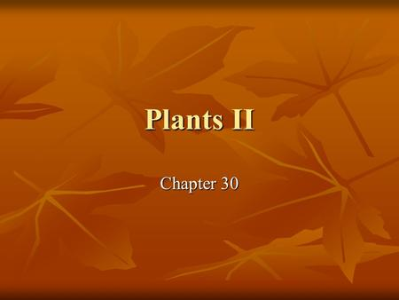 Plants II Chapter 30. What you need to know! Key adaptations to life on land unique to seed plants. Key adaptations to life on land unique to seed plants.