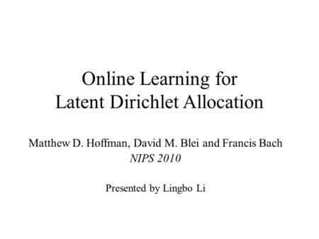Online Learning for Latent Dirichlet Allocation