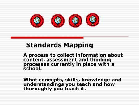 A process to collect information about content, assessment and thinking processes currently in place with a school. What concepts, skills, knowledge and.