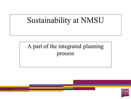 Sustainability at NMSU A part of the integrated planning process.