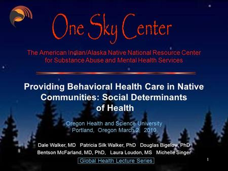1 The American Indian/Alaska Native National Resource Center for Substance Abuse and Mental Health Services Providing Behavioral Health Care in Native.