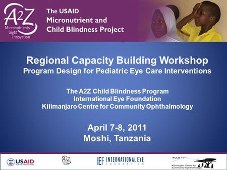 Regional Capacity Building Workshop Program Design for Pediatric Eye Care Interventions The A2Z Child Blindness Program International Eye Foundation Kilimanjaro.