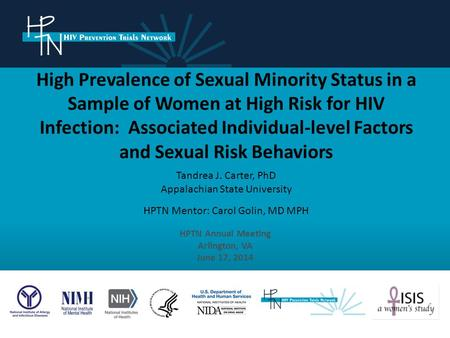 High Prevalence of Sexual Minority Status in a Sample of Women at High Risk for HIV Infection: Associated Individual-level Factors and Sexual Risk Behaviors.