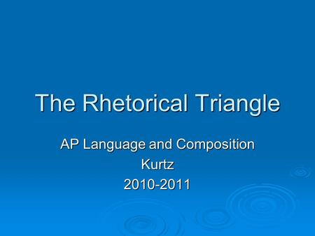 The Rhetorical Triangle AP Language and Composition Kurtz2010-2011.