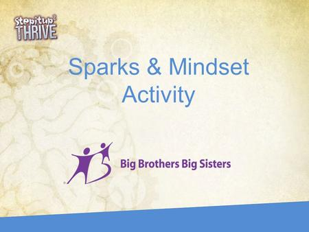"Sparks & Mindset Activity. The Brain Agenda Talk about your Sparks Learn how your brain thinks thoughts Tackle challenge with a ""Growth Mindset"" Do Advice."
