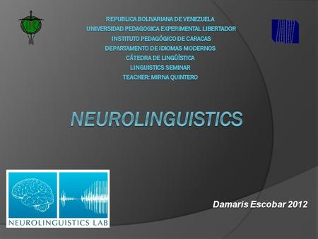 Damaris Escobar 2012. What is neurolinguistics?  It is the study of the neural mechanisms in the human brain that control the comprehension, production,