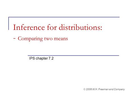 Inference for distributions: - Comparing two means IPS chapter 7.2 © 2006 W.H. Freeman and Company.