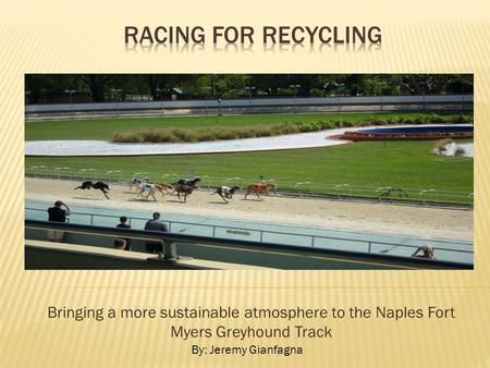 Bringing a more sustainable atmosphere to the Naples Fort Myers Greyhound Track By: Jeremy Gianfagna.
