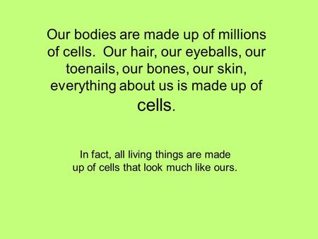 Our bodies are made up of millions of cells. Our hair, our eyeballs, our toenails, our bones, our skin, everything about us is made up of cells. In fact,