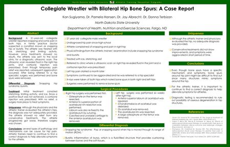 Collegiate Wrestler with Bilateral Hip Bone Spurs: A Case Report Kan Sugiyama, Dr. Pamela Hansen, Dr. Jay Albrecht, Dr. Donna Terbizan North Dakota State.