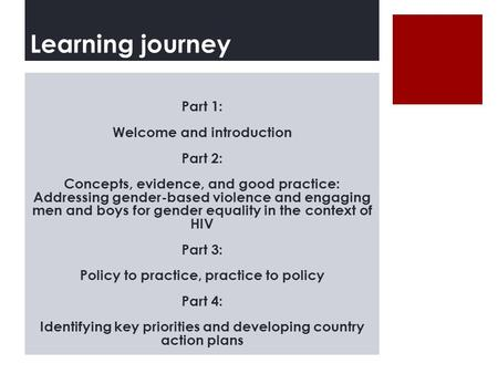 Learning journey Part 1: Welcome and introduction Part 2: Concepts, evidence, and good practice: Addressing gender-based violence and engaging men and.