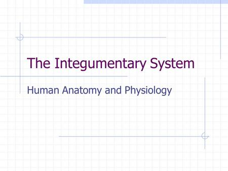 The Integumentary System Human Anatomy and Physiology.