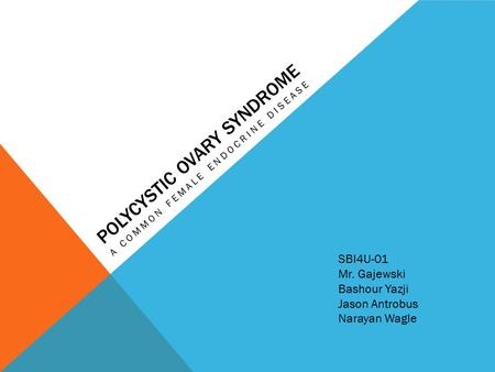 POLYCYSTIC OVARY SYNDROME A COMMON FEMALE ENDOCRINE DISEASE SBI4U-01 Mr. Gajewski Bashour Yazji Jason Antrobus Narayan Wagle.