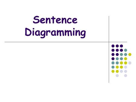 Sentence Diagramming. Sentence Diagrams A diagram is a visual outline of a sentence. It shows the essential parts of the sentence: Subject, Verb, Direct.