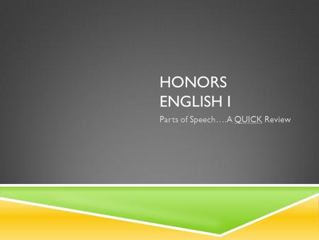HONORS ENGLISH I Parts of Speech….A QUICK Review.
