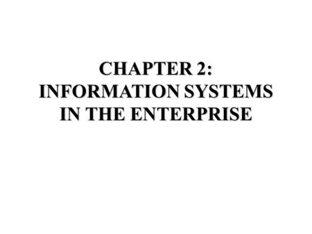 CHAPTER 2: INFORMATION SYSTEMS IN THE ENTERPRISE.