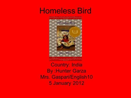 Homeless Bird Country: India By :Hunter Garza Mrs. Gaspari/English10 5 January 2012.