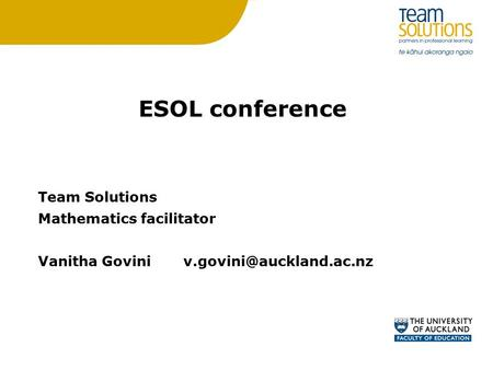 ESOL conference Team Solutions Mathematics facilitator Vanitha Govini