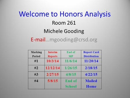 Welcome to Honors Analysis Room 261 Michele Gooding Marking Period Interim Reports End of MP Report Card Distribution #110/3/1411/6/1411/20/14.