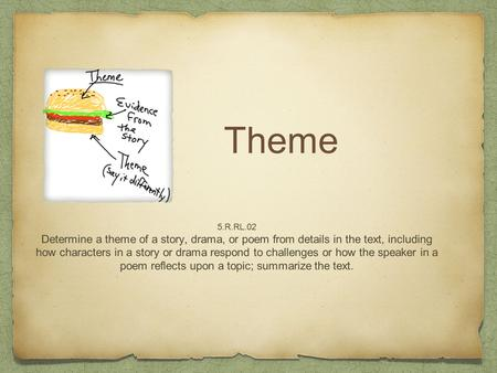 Theme 5.R.RL.02 Determine a theme of a story, drama, or poem from details in the text, including how characters in a story or drama respond to challenges.