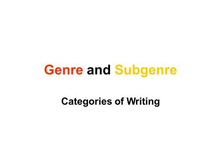 Genre and Subgenre Categories of Writing.
