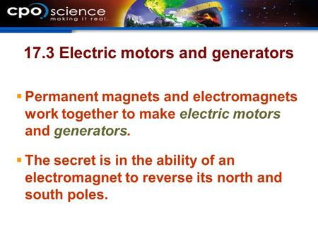 17.3 Electric motors and generators